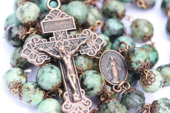 Huge African 10mm Turquoise and Bead Rosary in Bronze or Copper Handmade in Oklahoma