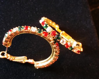 Red/Green/Clear Crystal French/Latch Clip (Omega) Earrings