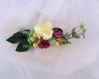 Amaranth hair comb, Succulents haircomb, Bridal hair comb, Floral hair comb, Bridal headpiece, Flower headpiece, Amaranth haircomb