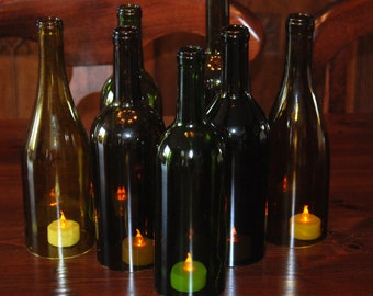 Set of 7 Hand Cut Wine Bottle Hurricane Candles- Perfect Centerpiece