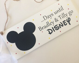 Personalised Days until Disney countdown keepsake plaque with Mickey Mouse chalkboard