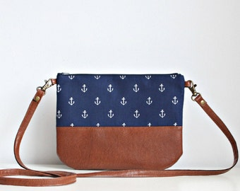 Anchors Nautical crossbosy every day bag, Clutch Purse, Vegan, Brown, Navy, cotton, small purse