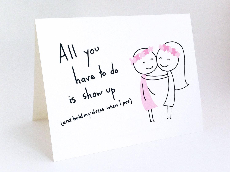 Honor Or Honour On Wedding Invitations: Funny Maid Of Honor Card // Cute Bridesmaid Invitation
