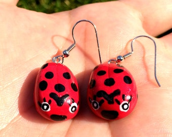 Ladybug/Ladybird Polymer Clay Earrings - Hand-Painted, Nickel-Free, Hypoallergenic