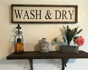 Wash & Dry Laundry Room Sign, framed wooden sign, wood sign, laundry room decor, laundry sign, wash room sign, laundry room sign