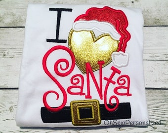 I love santa shirt - I Love Santa - I heart santa - Santa Shirt For Girls - Christmas Shirt For Girls - Christmas Shirt