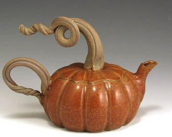 Pumpkin Teapot, Stoneware, Hand-thrown, SHIPPING INCLUDED