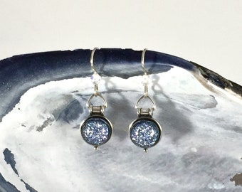Sterling Earrings: Silver Dichroic Fused Glass