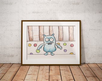 Icy-Bot Stuffed Animal in Crib PDF - Crayon Drawing - 8x10 - Crayon Art Print - Kid's Room Art - Baby's Room Art