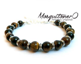 Men's bracelet, boy bracelet, tiger eye pearls, gift idea, tiger eye, stone bracelet, for him, minimal,