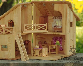 Wooden dollhouse Waldorf doll house Montessori toy dollhouse furniture miniatures doll house furniture puppenhaus holz READY to SHIP!