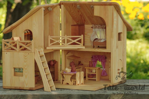 Lovely Wooden Dollhouse Waldorf Doll House Montessori Toy Dollhouse