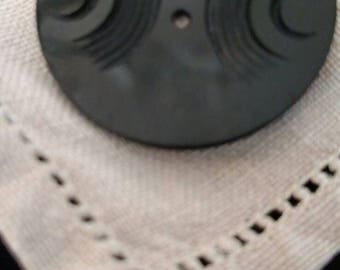 1920s Wafer Thin Licorice Celluloid Carved Button/ Black Black Button/ Art Deco Button/ Flapper Fashion/ Antique Button / Costume Design