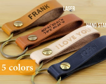 Leather Keychain Personalized, Personalized Men's Leather Keychain, Custom Leather Keychain, Monogram Leather Keychain, Leather Key fob