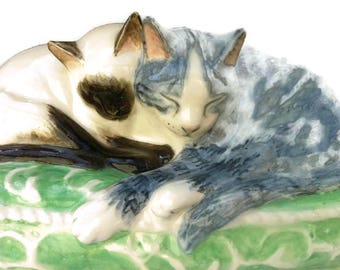 Cat figure, siamese, silver tabby sculpture of two cats together on cushion by Clare McFarlane