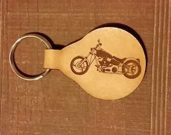 Laser engraved Motorcycle on a Leather KeyFob