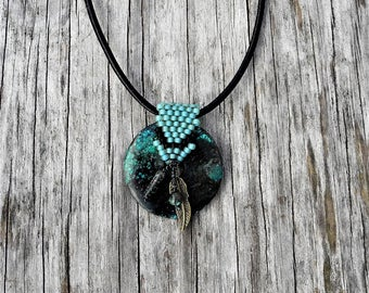 Beaded Bale withTurquoise Donut Leaf & Beads Necklace  - Bead Weaving - Statement Necklace - Turquoise - Leather Cord - BOHO