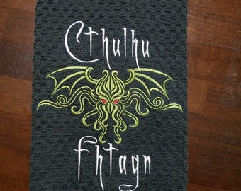Cthulhu Sleeps Embroidered Towel - Ready to Ship