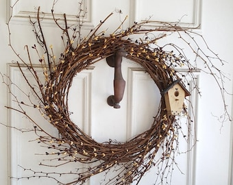 Spring Wreath, Spring Decor, Primitive Decor, Mother's Day Wreath, Summer Wreath, Grapevine Wreath, Birdhouse Wreath, Spring Door Wreath