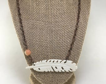 Carved Bone Feather Necklace