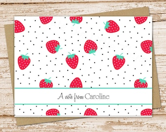personalized strawberry note cards . notecard . summer fruit . thank you cards .  personalized stationery . folded cards  . set of 8