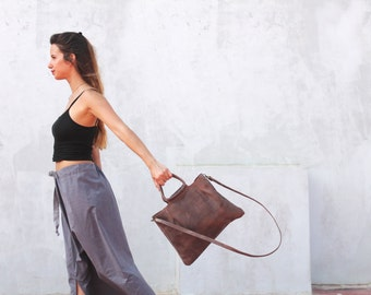 Brown leather purse for women, crossbody bag, top handle bag, brown leather bag, handmade leather bag, small bag, brown leather crossbody