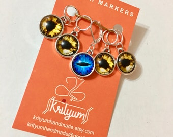 Tiger / dragon eye / evil eye Stitch Markers for knitting or crochet - Set of 5 - charms - earrings