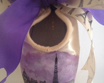 Custom City Skyline Handpainted Pointe Shoe
