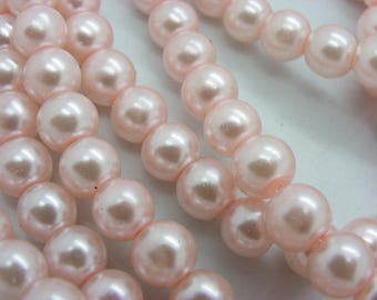 100 beads 8 mm Pearl glass 8 mm pink mother of Pearl 5-1 mm hole