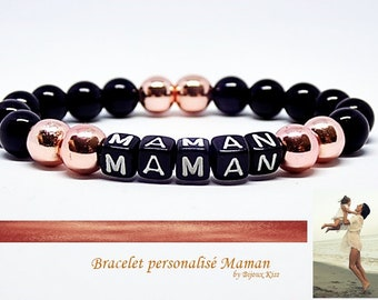Special bracelet celebrates mother, onyx and hematite rose gold,