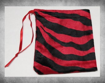 """Furry Velvet - 6x7""""  Red Zebra drawstring bag. Great for storing dice, cards, toys, and quick gift wrap! BAG-487"""