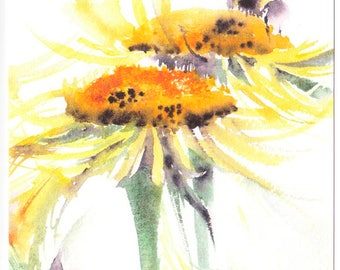 Bee & Flower Card, Blank Greetings Card, Floral Watercolour, Flower Watercolor, Daisy, Birthday, Thank you, Nature Card, Wildlife painting