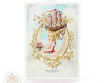 Marie Antoinette card, Coiffure, sailing ship, Paris, birthday card, French card, cake card, blank card