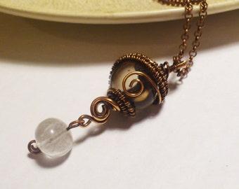 Smoky Quartz & White Rock Quartz Sphere/Ball Wire-wrapped Copper Pendant Necklace, Long