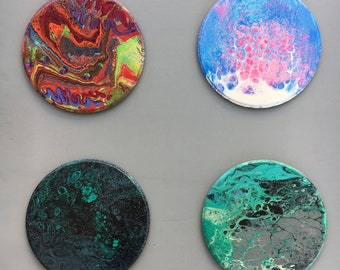 Acrylic pour studies, acrylic on wood, galaxy, cotton candy, carnival, altar art, abstract art