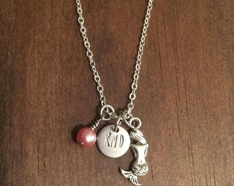 Mermaid Personalized Necklace, Mermaid Charm Necklace, Hand Stamped Mermaid Necklace, Initial Mermaid Necklace, Mermaid Charm, Initial Charm