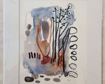 Evening Light Woods // Original Mixed Media on Paper // 3 of 13