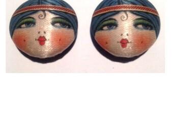 Vintage Antique Silk Blue Flapper Betty Boop Garter Buttons Pair