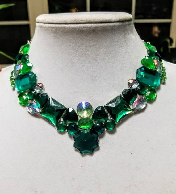 Ivy green - rhinestone bling necklace, illusion necklace, rhinestone bib, floating necklace, rhinestone statement necklace