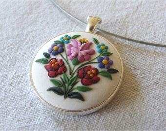 Fashion Necklace Floral Pendant Fashion Pendant Colorful Flower Necklace Polymer Clay Pendant Folk Art Pendant Folk Art  Necklace