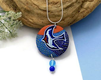 Swallow Necklace - Nature Jewelry - Blue Necklace - Wooden Jewelry - Original Painting - Statement Necklace - Bird Jewellery - Bird Art