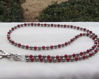 ID Badge Lanyard Red and Gray Swarovski Pearl Beaded Lanyard Necklace ID Badge Holder