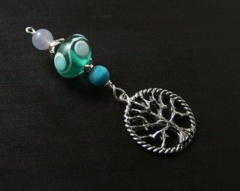 Blue Chalcedony and Turquoise magnesite Peaceful Waves Tree of Life Blessingway bead - baby shower gift, pregnancy gift, pendant, doula gift
