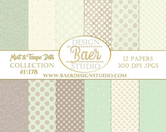 Digital Scrapbook Paper Pack:Green and Ivory Digital Paper, Mint Polka Dot Digital Paper, Mint and Taupe Digital Paper, Baby Digital Paepr