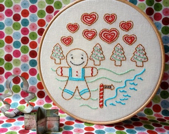 The Gingerbread Man - Christmas Embroidery Pattern - PDF Download - Includes Stitch and Color Guide