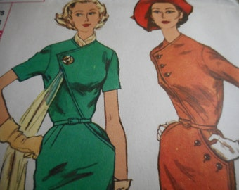 Vintage 1950's Simplicity 2183 Dress Sewing Pattern Size 16 Bust 36