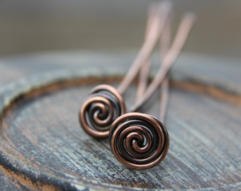 "Hair fork, hair pin, hair stick, copper hair fork ""Rose bud"", minimalist, simple, flower, woodland, spiral hair accessories, metal hair for"