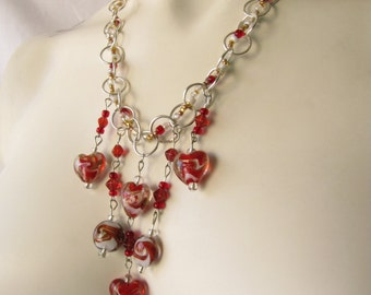 Red and White Multi-Drop Lampwork Glass Bead Silvertone Chain Necklace
