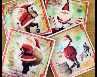 "4"" x 4"" Glittery Santa Ceramic Coasters (Set of 4) - Drink Coasters - Home Decor"