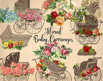 Floral Baby Carriages Clipart, Vintage flowers and prams, antique baby shower clip art, vintage perambulator png graphics commercial use